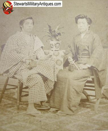 Civil War Indian SAW Japanese Meiji Era Carte De Visite Two