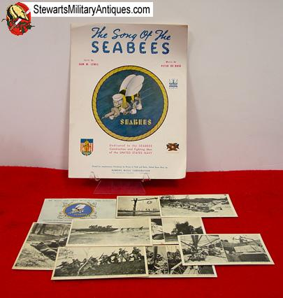Stewarts Military Antiques - - US WWII Navy SeaBee Postcard